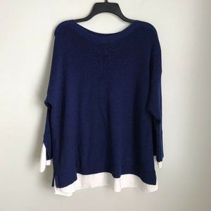 Chico's 3 Blue Long Sleeve Sweater White Trim